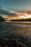 在waimakariri河的日落视图 图库摄影