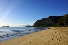 在Waimanalo海滩的柔和的波浪膝部 图库摄影