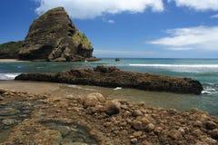 在Waitakere范围的Piha海滩 库存图片
