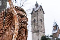 在Wang寺庙前面的Liczyrzepa雕象 库存图片