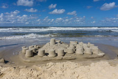 在wangerooge海滩的沙堡  库存图片