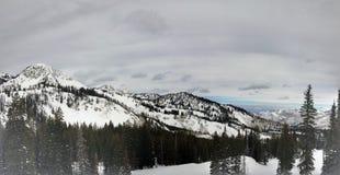 在Wasatch附近的冬天庄严视图朝向落矶山,布赖顿滑雪胜地,接近盐湖和Heber谷,公园市, U 图库摄影
