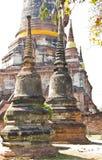在Wat亚伊Chaimongkol的古老stupa, 免版税库存照片