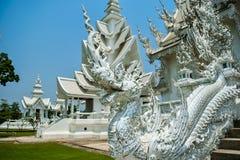 在Wat荣Khun寺庙的白色Drogon雕象 免版税图库摄影