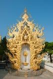 在Wat荣Khun的华丽屋顶 库存照片