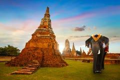 在Wat Chaiwatthanaram寺庙的大象在Ayuthaya历史公园,联合国科教文组织世界遗产,泰国 库存照片