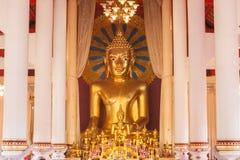 在Wat Chedi Luang的金黄菩萨雕象 库存图片