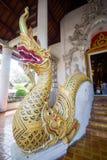 在Wat Chedi Luang,佛教寺庙的娜卡雕象在清迈,泰国的历史的中心 库存图片