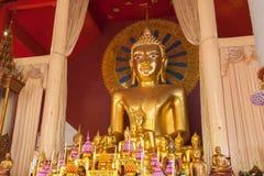 在Wat Chedi Luang,清迈泰国的金黄菩萨雕象 库存图片
