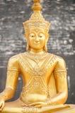 在Wat Chedi Luang,清迈,泰国的金黄菩萨雕象 免版税库存照片