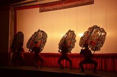 在Wat Khanon/Ratcha Buri/泰国的盛大皮影戏 库存照片