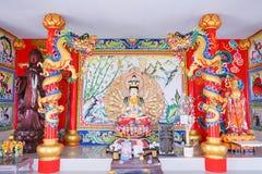 在Wat Khun Samut奇恩角的观世音菩萨雕象 库存图片