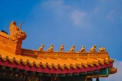 在Wat Mangkon Kamalawat或Wat冷家Noei伊的传统和建筑学中国式寺庙 库存照片