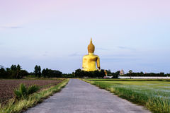 在Wat Muang的金黄菩萨雕象在Angthong,泰国 图库摄影