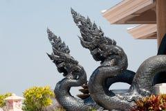 在Wat Pa装饰的泰国艺术监护人蛇Phu Kon,泰国 免版税图库摄影