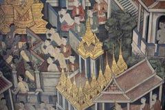 在Wat Pho寺庙的绘画在曼谷 免版税图库摄影