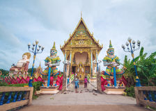 在Wat Plai Leam寺庙的整理霍尔在酸值苏梅岛海岛,泰国上 免版税库存照片