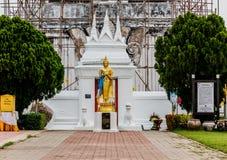 在Wat PraThat ThaUthen, Nakhonphanom泰国的菩萨雕象 库存图片