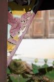 在WAT/Stucco的膏药雕象唱泰国兰纳/张Mai/艺术,美好 免版税图库摄影