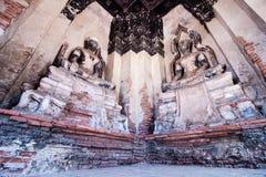 在Wat柴Wattanaram寺庙,阿尤特拉利夫雷斯的古老菩萨雕象, 免版税库存图片