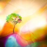 在watercolored背景的树 免版税库存图片