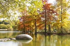 在Westpark的秋天风景有湖的 库存照片