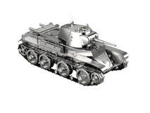 在wh从WWII的隔绝的一个银色德国坦克玩具的比例模型 库存图片