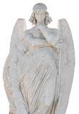 在whi查出的一个美好的天使的雕象 免版税库存照片
