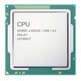 在whitebackground隔绝的中央处理器单元CPU顶视图 3d例证 免版税库存图片