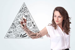 画在whiteboard的少妇一个食物金字塔 库存图片