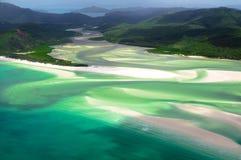 在Whitehaven海滩, Whitsunday海岛的风景飞行 图库摄影