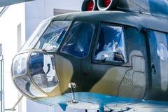 在wiev之外的直升机驾驶舱 免版税库存图片