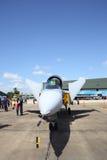 在Wing7空军基地的JAS 39 Gripen展示在泰国儿童的天 免版税库存照片