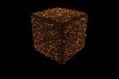 在Wireframe全息图样式的抽象形状元素 好的3D翻译 免版税库存图片
