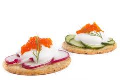 在Wite的鱼子酱开胃菜 免版税库存照片