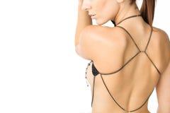 在Woman& x27的身体首饰; s后面 免版税图库摄影