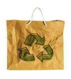 在Wrinkled纸袋的Eco标志 免版税库存照片