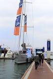 在wuyuanwan游艇码头的风船 免版税库存照片