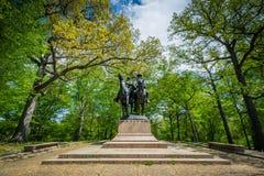 在Wyman公园Dell的雕象,在查尔斯村庄,巴尔的摩, Maryla 免版税图库摄影