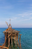 在Xeros,画象的塞浦路斯的遗弃码头 库存图片