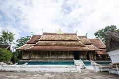 在Xieng皮带寺庙,古老寺庙,老挝的艺术。 免版税库存图片