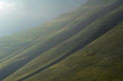 在Xinaliq,阿塞拜疆,大高加索山脉范围的遥远的山村附近的牧羊人 图库摄影