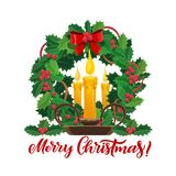 在Xmas松树花圈的圣诞节蜡烛 向量例证