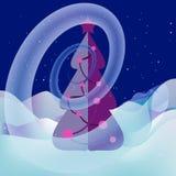 在Xmas树附近的雪漩涡 魔术的横向 皇族释放例证