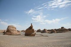 在yadan地形敦煌的唯一孔雀石头 免版税图库摄影
