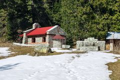 在Yavorov小屋,保加利亚,班斯科附近的教堂 库存照片