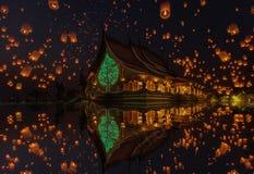 在yee彭节日的浮动灯在塔状树焕发寺庙Wat诗琳通Wararam,诗琳通区,乌汶叻差他尼 库存图片