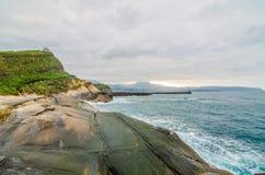 在Yehliu geopark,台湾的岩层 库存照片