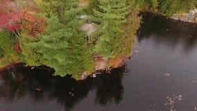 在yurt的寄生虫飞行在一个湖在加拿大 股票录像