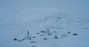 在yurts一个大阵营的北极的寒带草原中间与夺取形式的驯鹿寄生虫的上面 股票视频